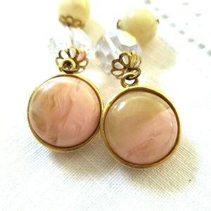 Les Bernard Jewelry - VTG Les Bernard Dangle Earrings Clip Peach Yellow